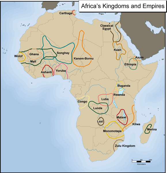 map of Africa with different tribes